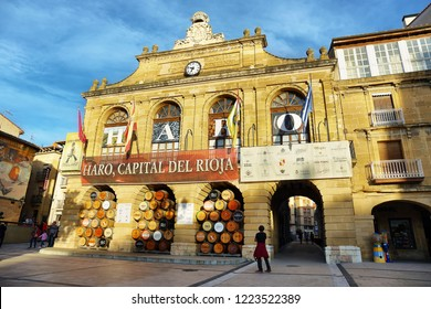 Haro, Spain - October 12, 2018: Main square in one of the most important wine towns in La Rioja region, Spain