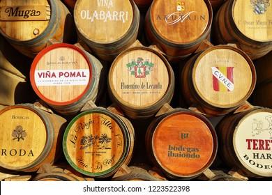 Haro, Spain - October 12, 2018: Wine barrels of the great bodegas or winehouses of Haro, La Rioja, Spain