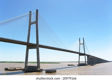 A harp cable-stayed bridge on the Parana river connecting Rosario and Victoria cities, Argentina