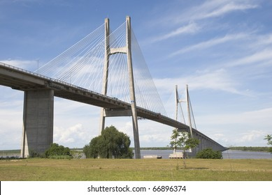 A harp cable-stayed bridge over the Parana river that links Rosario city, in Santa Fe province, with Victoria, Entre Rios, Argentina