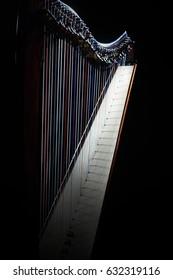 Harp instrument. Irish harp Music instruments closeup