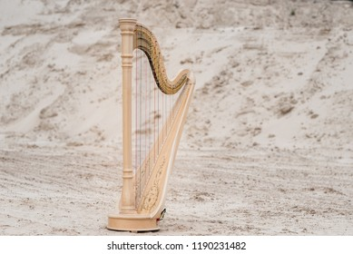 Harp Music Instrument on the Ground.