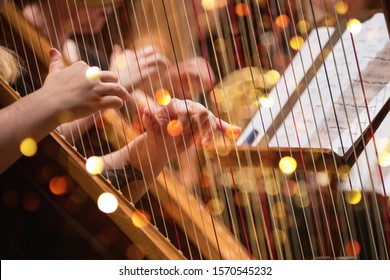Harp player during a classical concert music, close-up.