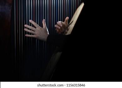 Harp player. Hands playing Irish harp strings. Music instrument closeup. Harpist with celtic harp