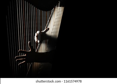 Harp player. Hands playing Irish harp strings. Music instrument closeup. Harpist with celtic harp