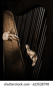 Harp player. Hands playing Irish harp music instrument close up