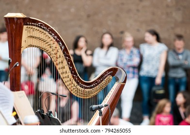 The harp is a stringed musical instrument that has a number of individual strings running at an angle to its soundboard; the strings are plucked with the fingers.