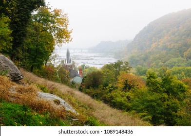 Harpers Ferry Church and River on a Misty Morning