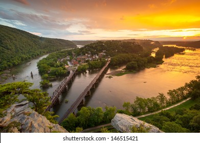 Harpers Ferry National Historic Park Sunset From Maryland Heights Overlook