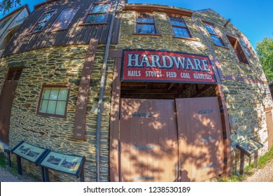 HARPERS FERRY, WEST VIRGINIA, USA-SEPTEMBER 3, 2018: A historic town in Jefferson County at the confluence of the Potomac and Shenandoah rivers.Known for John Brown's raid in 1859.Historic buildings.