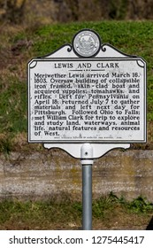 Harpers Ferry, WV, USA - November 3, 2018: The Lewis and Clark Historic Marker near the Potomac River in Harpers Ferry.