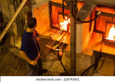HARRACHOV, CZECH REPUBLIC - OCTOBER 10, 2014: - Making Czech glass on small factory