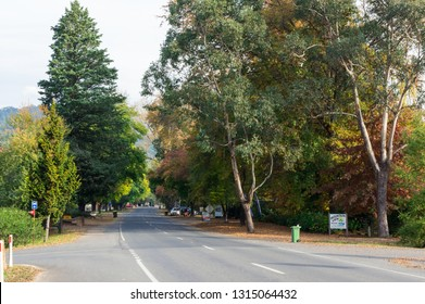 Harrietville, Australia - May 2, 2018: view along the Great Alpine Road, in the foothills of the Great Dividing Range. Harrietville is a former goldmining town.