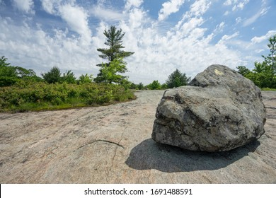 Harriman State Park NY Bowling Rocks wide-angle landscape with boulder in front