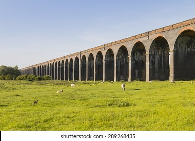 Harringworth railway viaduct showing a selection of the eighty two arches,Northamptonshire, England