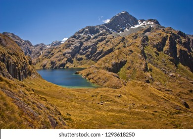 Harris Lake from the valley of Routeburn track in New Zealand