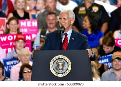 HARRISBURG, PA - APRIL 29, 2017:  Vice President Mike Pence speaks at a Trump campaign rally marking 100 days in office at The Farm Show Complex and Expo Center.