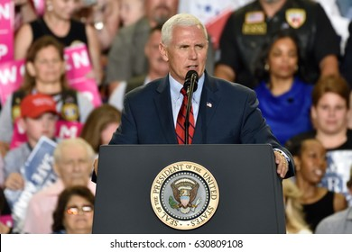 HARRISBURG, PA - APRIL 29, 2017:  Vice President Mike Pence speaking at a Trump campaign rally marking 100 days in office at The Farm Show Complex and Expo Center.