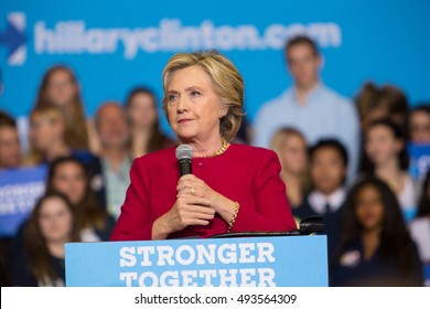 Harrisburg, PA - October 4, 2016: Presidential candidate Hillary Clinton speaks supporters at Zembo Shrine in Harrisburg, urging them to register to vote.