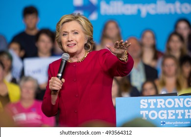 Harrisburg, PA - October 4, 2016: Presidential candidate Hillary Clinton speaking to supporters aand urging them to register to vote.
