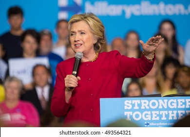 Harrisburg, PA - October 4, 2016: Presidential candidate Hillary Clinton speaking to supporters and asking them to register to vote.