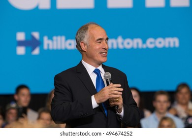 Harrisburg, PA - October 4, 2016: PA Senator Democrat Bob Casey speaks at a rally for Presidential candidate Hillary Clinton in Harrisburg.