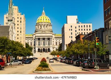 Harrisburg, PA - September 3, 2016:  The Pennsylvania State Capitol Building in Harrisburg.