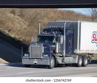 Harrisburg, Pa USA 12-12-18 Big Rig Trucks on Highway
