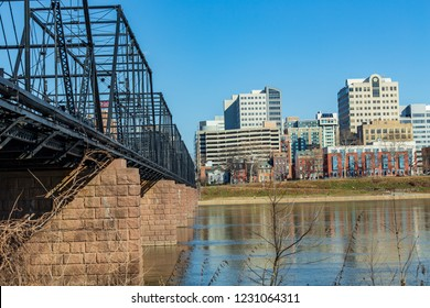 Harrisburg, PA, USA - January 1, 2017: A view of the downtown area looking at the cityscape from the Susquehanna River.