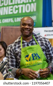 Harrisburg, PA, USA - January 11, 2015: Food Network's Aaron McCargo Jr., best known as the winner of the 4th season of reality television show, The Next Food Network Star at the annual PA farm show.