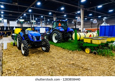 Harrisburg, PA, USA - January 9, 2019: A variety of farm machinery and equipment was on display at the annual PA Farm Show, the largest indoor agricultural exhibition in the nation.