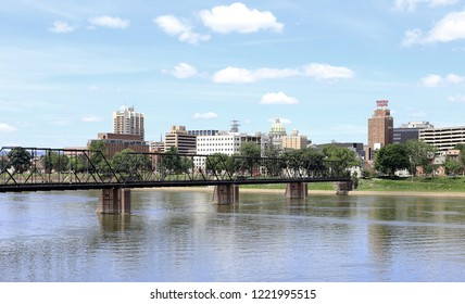 HARRISBURG, PA, USA - JUNE 21: A view of downtown Harrisburg from across the Susquehanna River in Harrisburg, Pennsylvania on June 21, 2018. Harrisburg is the capital of the US state of Pennsylvania.