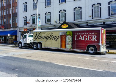 Harrisburg, PA / USA - May 15, 2020: A Yuengling Brewery delivery truck parked along Second Street in the downtown part of the city.