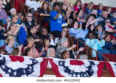 Harrisburg, PA, USA - October 4, 2016: Supporters cheering at the rally for Presidential candidate Hillary Clinton.