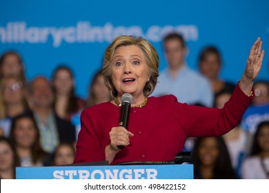 Harrisburg, PA, USA - October 4, 2016: Presidential candidate Hillary Clinton speaking at a campaign rally.
