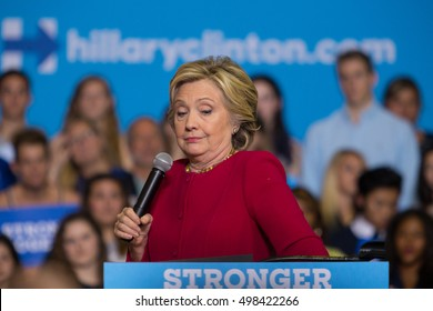 Harrisburg, PA, USA - October 4, 2016: Presidential candidate Hillary Clinton rallying supporters urging them to register to vote.