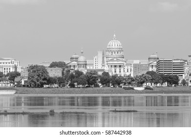 Harrisburg panorama with state capitol complex and landmarks, PA
