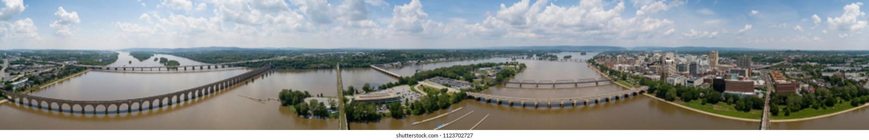 Harrisburg Pennsylvania Capital CIty Aerial View From City Island Susquehanna River