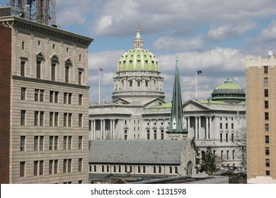 Harrisburg, Pennsylvania Capitol Building.  Shot in very late winter.