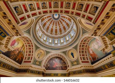 HARRISBURG, PENNSYLVANIA - JULY 5, 2013: Closeup of the rotunda ceiling in the Pennsylvania State Capitol building in Harrisburg, Pennsylvania on July 5, 2013 in Harrisburg, Pennsylvania