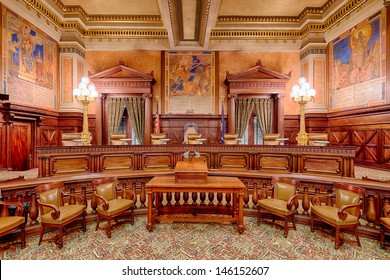 HARRISBURG, PENNSYLVANIA - JULY 5: The Supreme Court Chamber in the Pennsylvania State Capitol building on July 5 in Harrisburg, Pennsylvania
