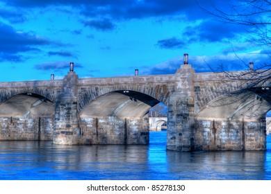 Harrisburg, Pennsylvania Market Street Bridge at Sunset.