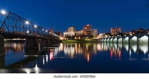 Harrisburg, Pennsylvania night skyline reflection across the Susquehanna River