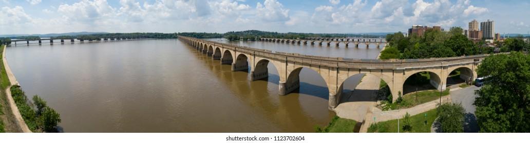 Harrisburg Pennsylvania Panoramic View Bridges Crossing Susquehanna River