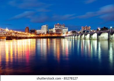 Harrisburg, Pennsylvania Skyline at Night