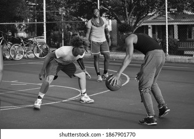 Harrisburg, Pennsylvania United States of America - July 23rd 2019: inner-city youth playing basketball in a summer youth program