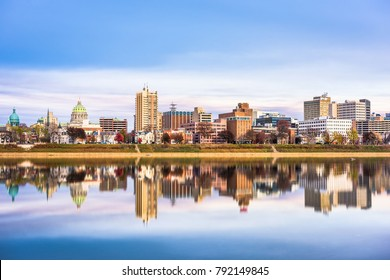 Harrisburg, Pennsylvania, USA downtown city skyline on the Susquehanna River.
