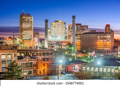 Harrisburg, Pennsylvania, USA downtown skyline at night.