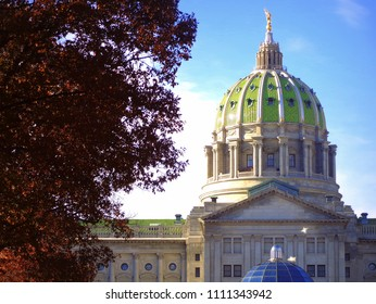 Harrisburg, Pennsylvania / USA - November 23, 2013: Pennsylvania State Capitol Building with pretty fall foliage.