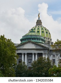 Harrisburg, Pennsylvania USA.  The state capitol of PA shot on October 9, 2018. Brilliant views of a sunny afternoon.